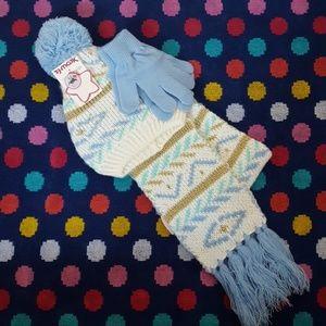 Little girls hat, gloves, scarf set